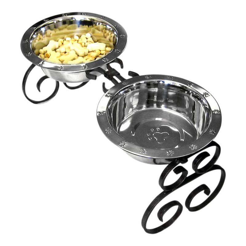 """QT Dog, Wrought Iron Diner with Stainless Steel Mini Black, 4""""H, 1 pt"""
