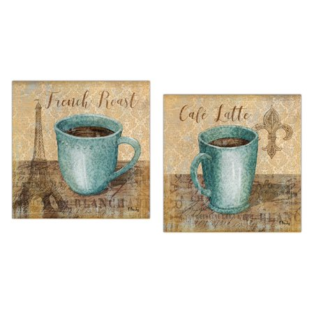 Popular Classic Coffee Paris French Roast and Fleur De Lis Cafe Latte; Kitchen Decor; Two 12x12in Poster Prints. Teal/Brown