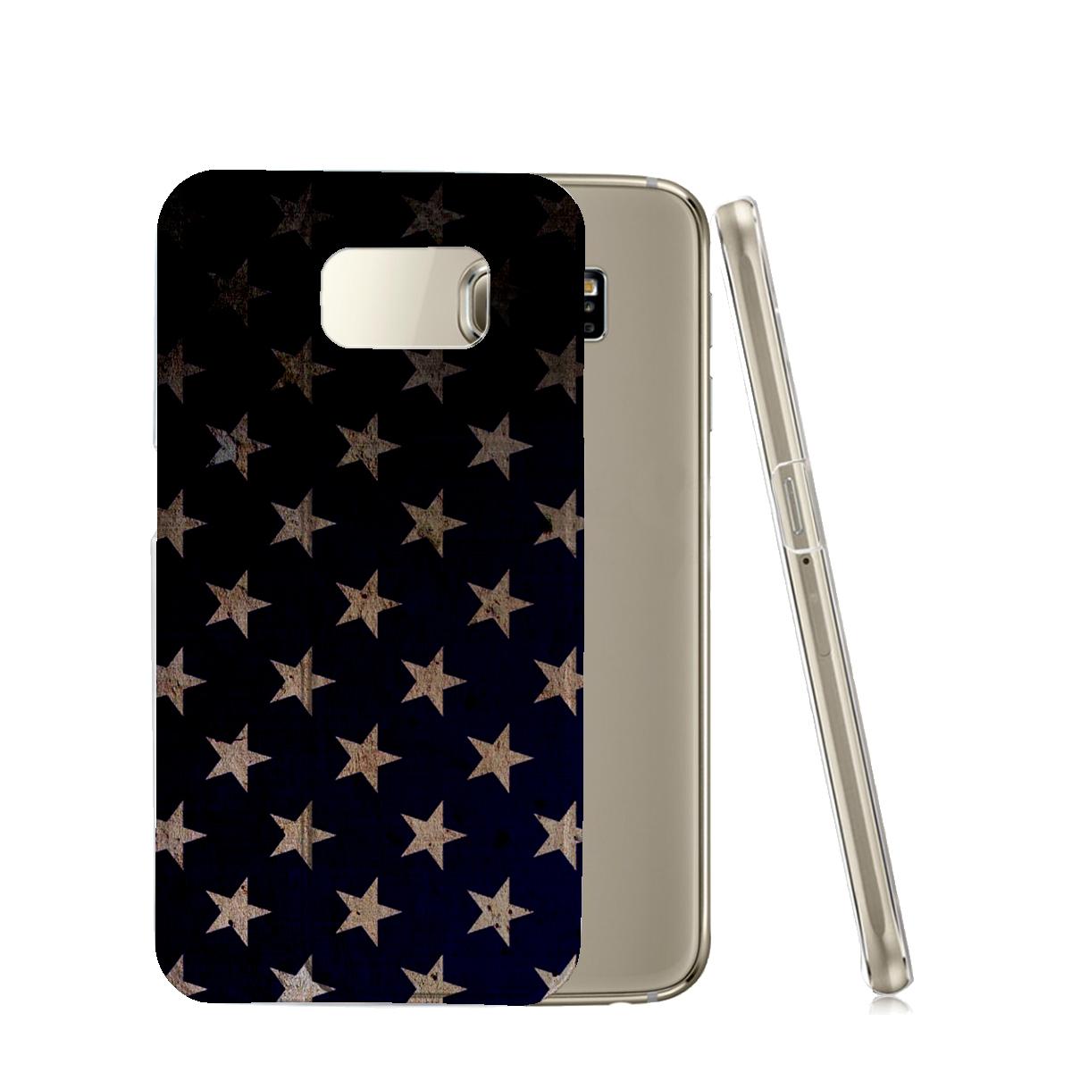 KuzmarK™ Samsung Galaxy S6 Edge Clear Cover Case - American Flag Stars