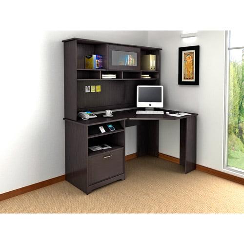 """Bush Cabot 60"""" Corner Computer Desk with Hutch, Espresso Oak"""