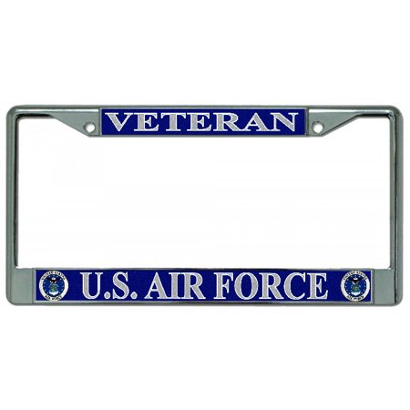 U.S. Air Force Veteran Chrome License Plate Frame - Personalized License Plate Frame