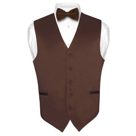 Men's Dress Vest & BowTie Solid CHOCOLATE BROWN Color Bow Tie Set for Suit Tux - Vest Bow Tie