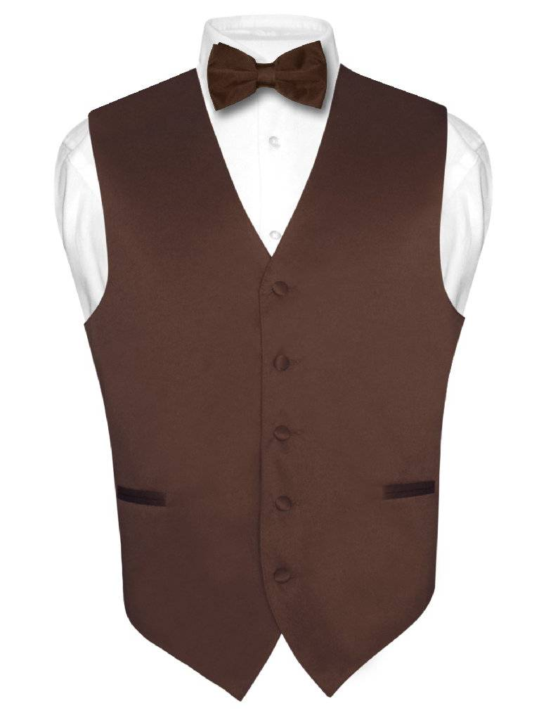 Men's Dress Vest & BowTie Solid CHOCOLATE BROWN Color Bow Tie Set for Suit Tux