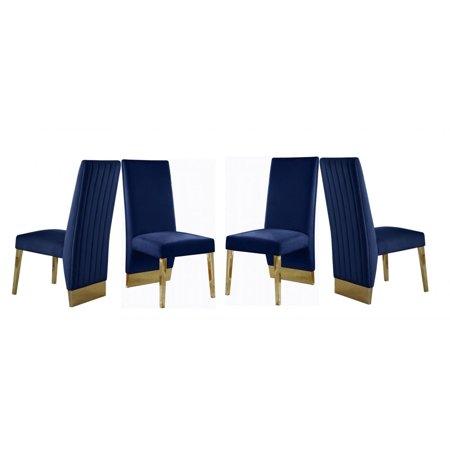 Navy Velvet Dining Chair 4 Pcs Contemporary Meridian Furniture 755 Porsha