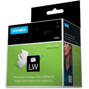 DYMO LW Non-Adhesive Name Badge Labels for LabelWriter Label Printers, White, 2-7/16'' x 4-3/16'', 1 Roll of 250 Dymo Adhesive Name Badge