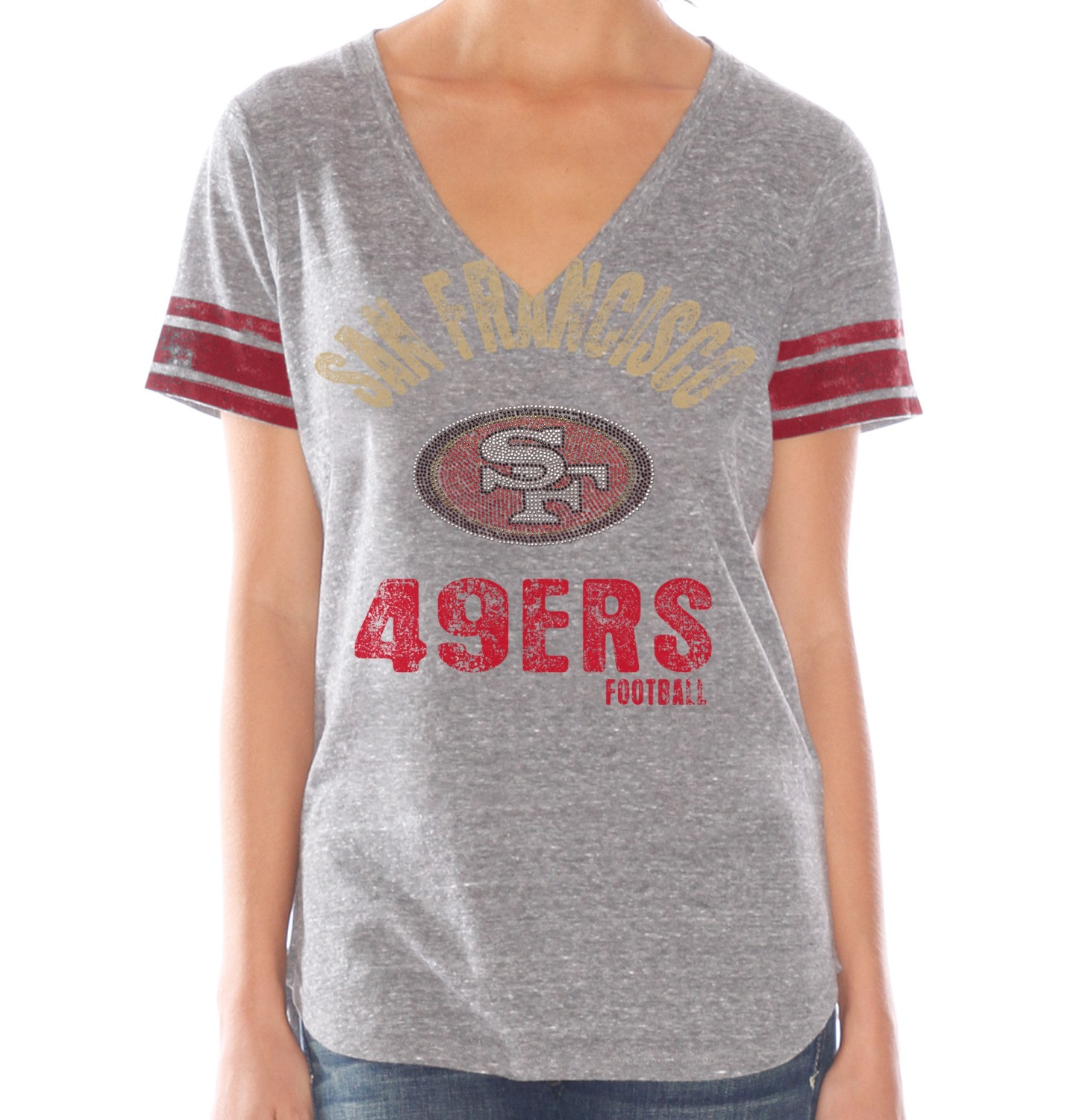 "San Francisco 49ers Women's G-III NFL ""Team Captain"" Tri Blend V-neck T-shirt"