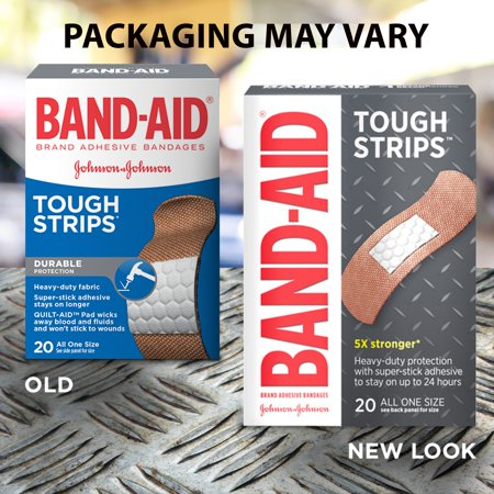 Strip Badges - Band-Aid Brand Tough Strips Adhesive Bandage, All One Size, 20 ct