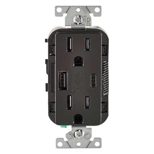 Leviton 3894508 15 Amp 125 V Black Outlet  U0026 Usb Charger - Nema 5-15r - Walmart Com