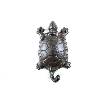 "Cast Iron Turtle Key Hook 6"" - Decorative Turtle - Nautical Wall Art"