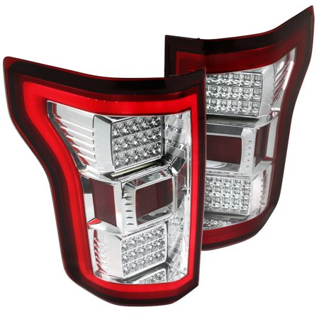 Brake Bar - Spec-D Tuning Red/Clear 2015-2017 Ford F150 Rear Brake Full Led Tail Lights W/Driving Neon Bar (Left + Right) 15 16 17