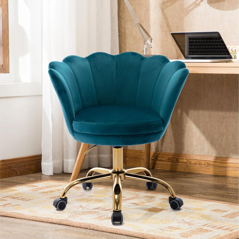 Green Velvet Chair, Modern Swivel Shell Vanity Chair with ...
