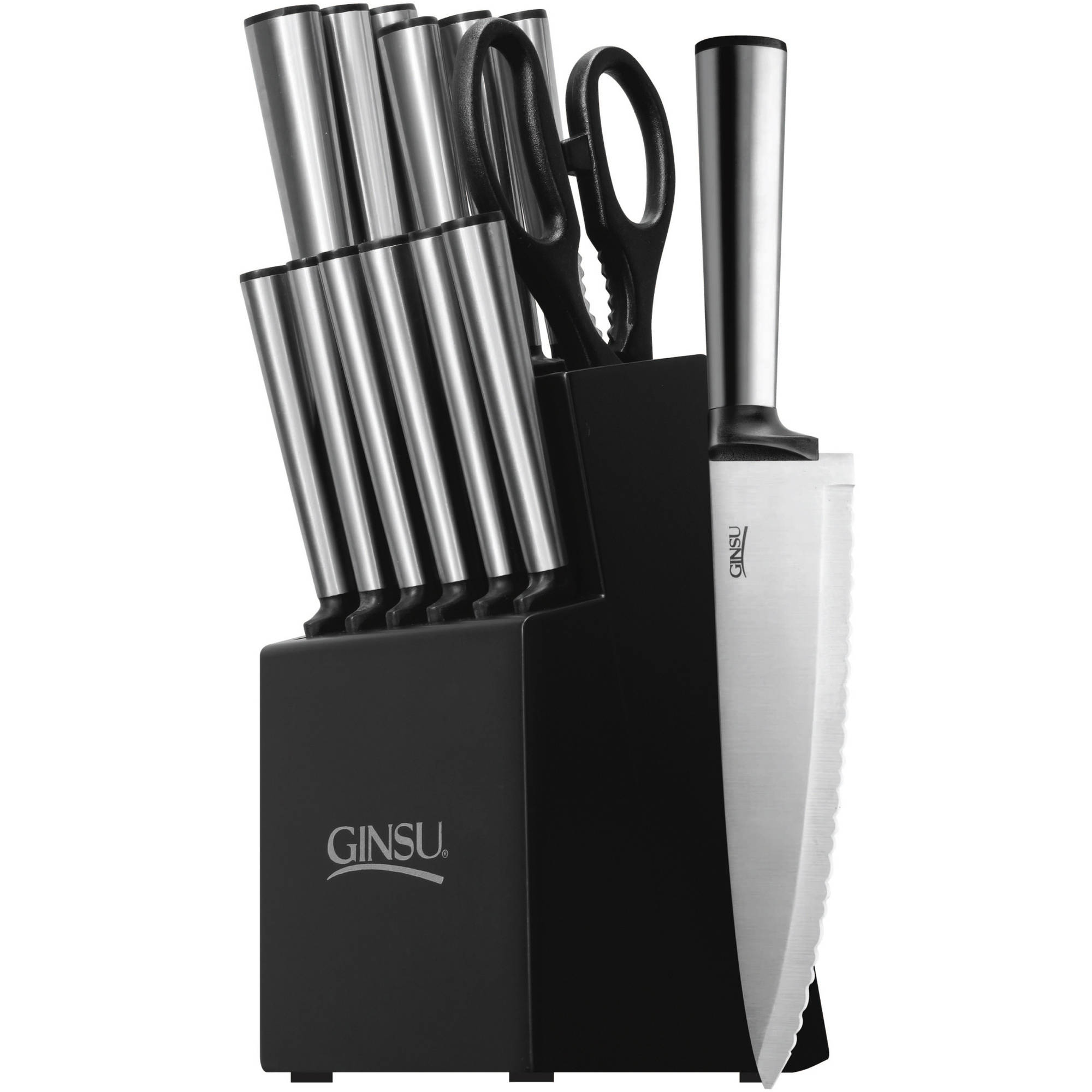 Ginsu Koden Series 14-Piece Stainless Steel Serrated Knife Set – Cutlery Set with Stainless Steel Kitchen Knives in a Black Block, GKK-SS-DS-014-5