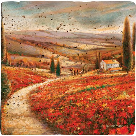 Thirstystone Ambiance Drink Coasters Set, Tuscan Palette, Travertine