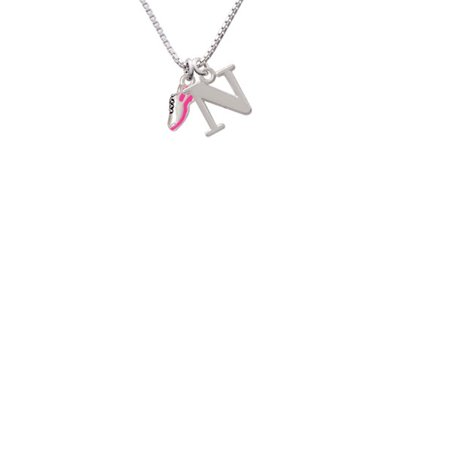 Silvertone Mini Hot Pink Running Shoe Capital Initial N Necklace