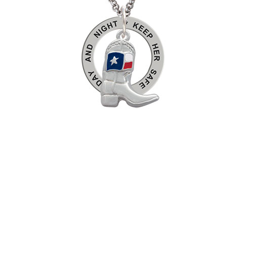 Cowboy Boot with Texas Flag Keep Her Safe Both Day And Night Affirmation Ring Necklace