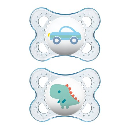 MAM Pacifiers, Baby Pacifier 0-6 Months, Best Pacifier for Breastfed Babies, 'Clear' Design Collection, Boy, (Best Natural Pacifier Breastfed Babies)