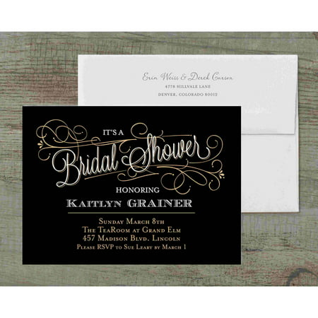 Classic Script Deluxe Bridal Shower Invitation](Black And White Wedding Invitations)