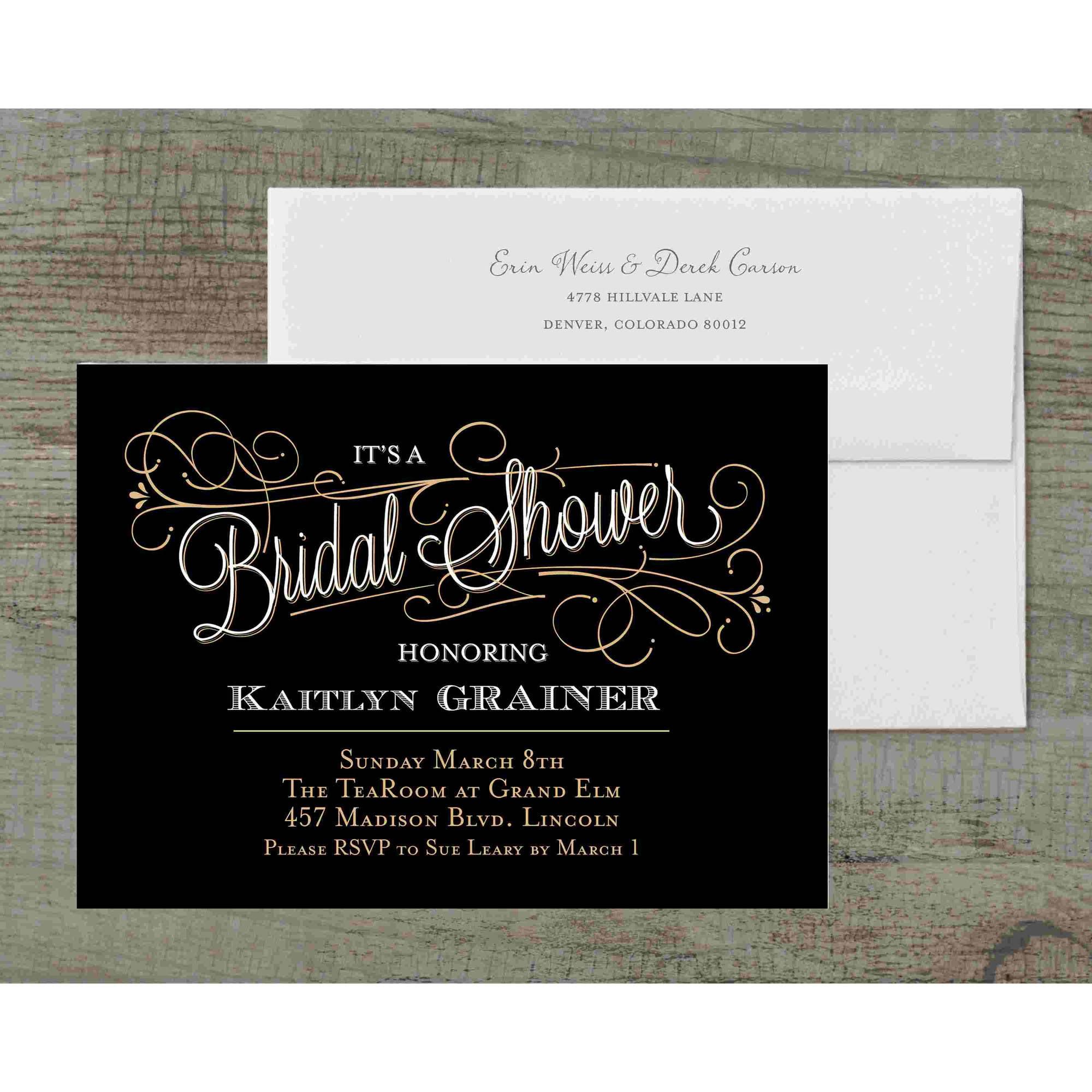 Classic Script Deluxe Bridal Shower Invitation