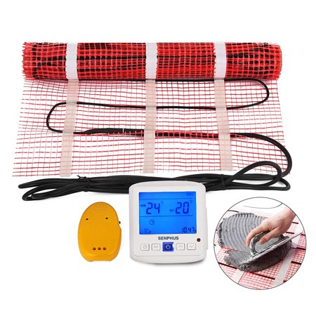 VEVOR 40 Sqft 120V Electric Radiant Floor Heating Mat with Alarmer and Programmable Floor Sensing Thermostat Self-Adhesive Mesh Underfloor Heat Warming Systems Mats Kit