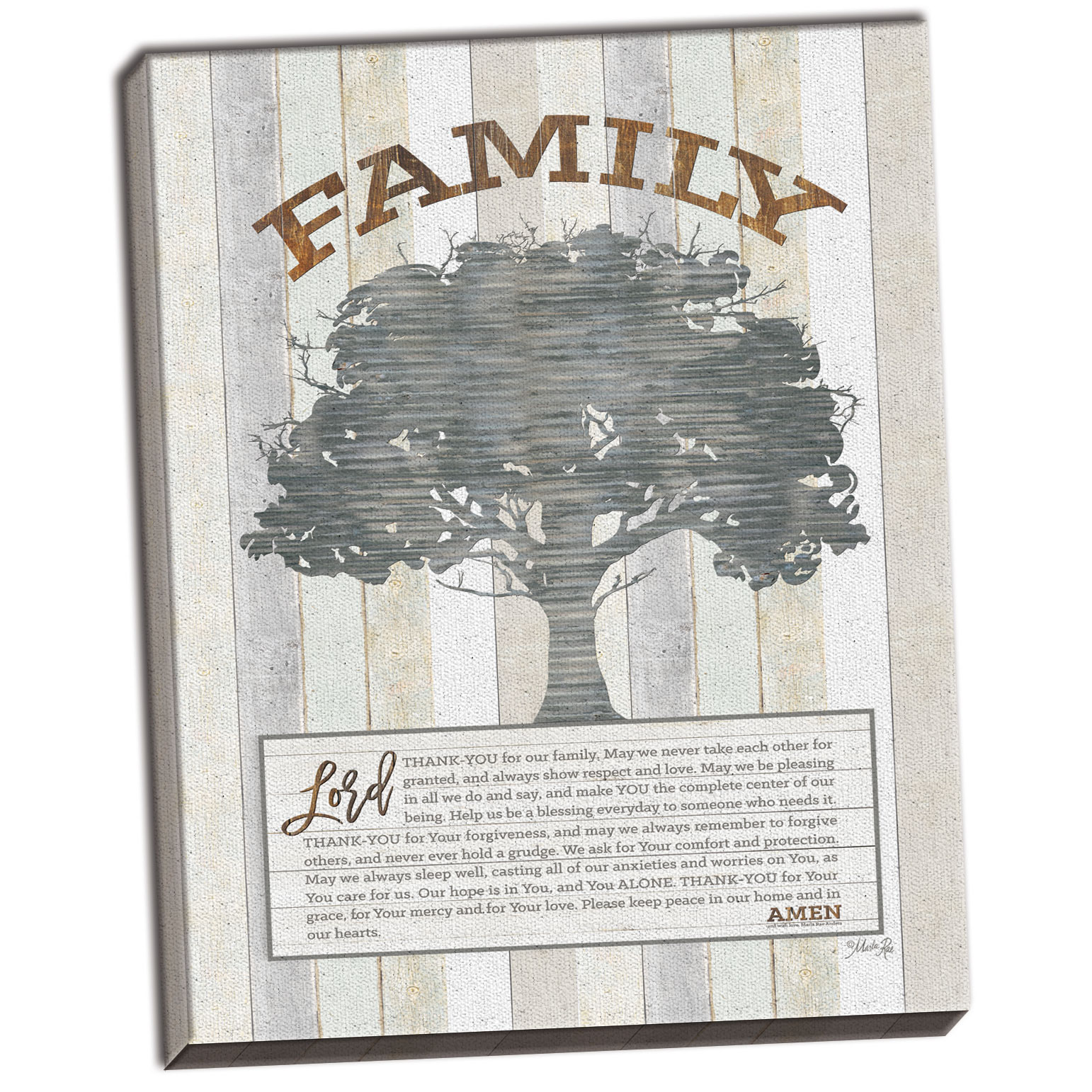 Gango Home Decor Contemporary Family Prayer Tree by Marla Rae (Ready to Hang); One 12x16in Hand-Stretched Canvas