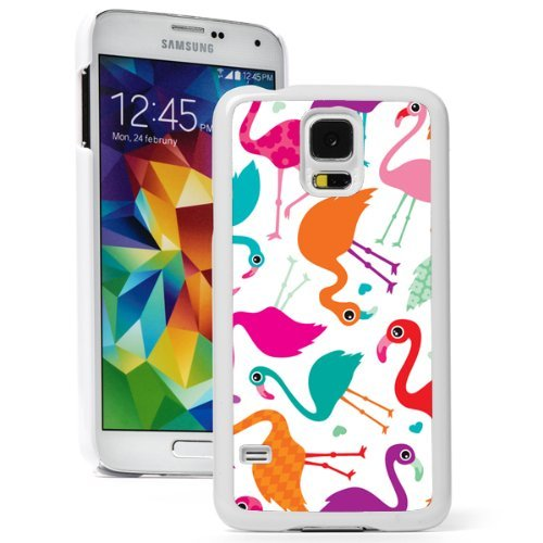 Samsung Galaxy (S5 Mini) Hard Back Case Cover Colorful Flamingos Pattern (White)