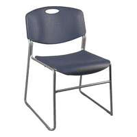 Heavy-Duty Plastic Stacking Chair w/ Navy Seat & Silver Mist Frame