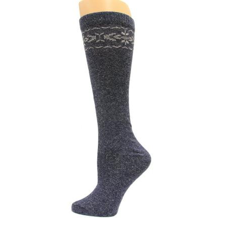 Angora Blend Socks (Wise Blend Angora Flower Knee High Socks, 1 Pair, Denim, Medium, Shoe Size W 6-9 )