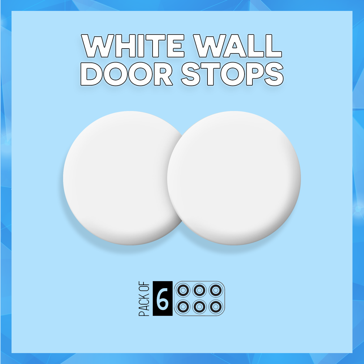 Wall Door Stops, Self Adhesive 3M White Door Knob Bumpers 0.3 Inch Thick    1.6