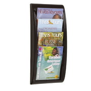 Paperflow Quick Fit Systems Wall Mounted Literature Display, Four Pockets, Letter, Black (4061US.01)
