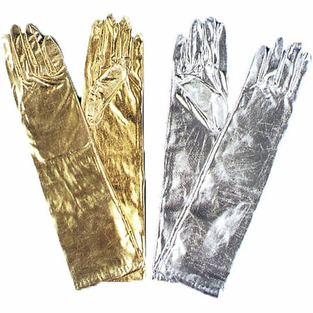 Metallic Elbow-Length Gloves Adult Halloween Accessory - Biker Gloves Halloween