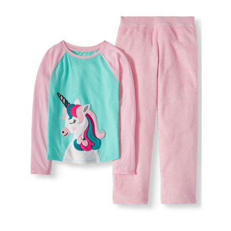 Girls' 2 Piece Cozy Graphic Top And Loose Fit Pant Sleepwear Set