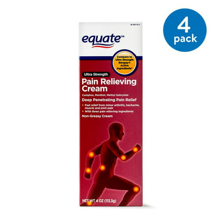 (4 Pack) Equate Ultra Strength Pain Relief Cream, 4 Oz