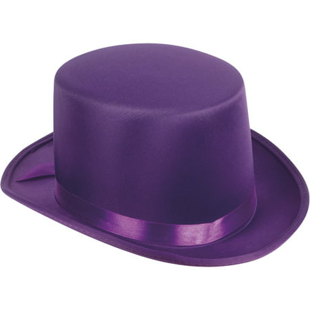 Willy Adult Halloween Costume Satin Ribbon Top Hat, Purple, One-Size (7.25