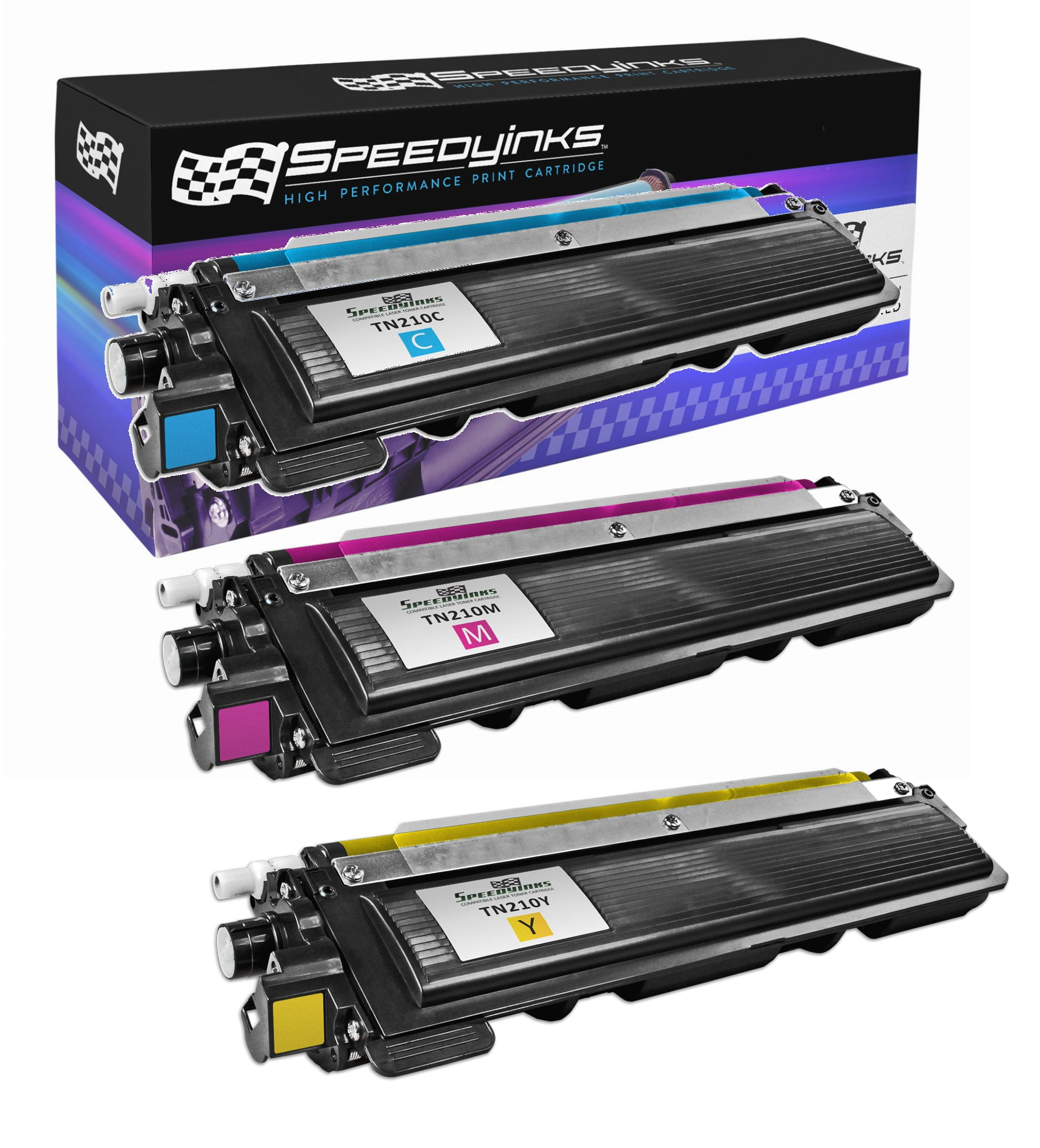 SpeedyInks - 3PK Color Compatible Toner Cartridge Replacement for Brother TN210 1 Cyan, 1 Yellow, 1 Magenta