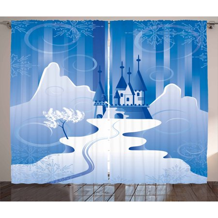 Winter Curtains 2 Panels Set, Christmas Scene in Northern Part of the World Snowy Mountains Castle Digital Image, Window Drapes for Living Room Bedroom, 108W X 90L Inches, Blue Winter, by Ambesonne