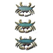 Coastal Blue Crabs Carved Wood Holiday Christmas Ornaments Set of 3