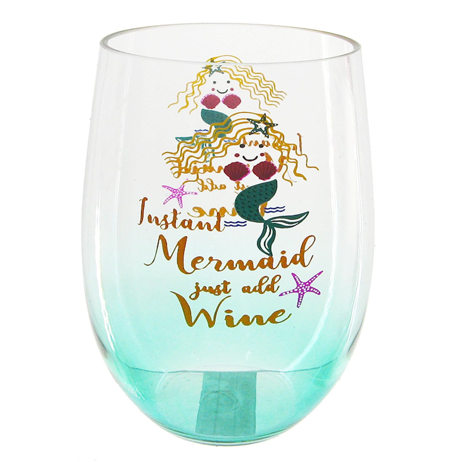 custom vinyl stemless wine glass Mermaid Swims On Wine stemless wine glass