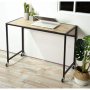 HOMY CASA Mobile Computer Desk Wheels 39inch Rolling Writing Table for Home Office Steel Frame Beige