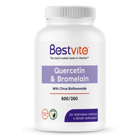 Quercetin with Bromelain 500mg/250mg (120 Vegetarian Capsules) with Citrus Bioflavanoids - No Stearates - Vegan - Non GMO - Gluten