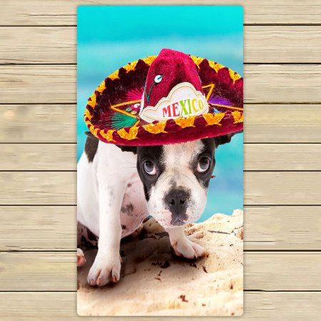 French Beach Towel - PHFZK Animal Towel, French Bulldog Puppy in Mexican Sombrero on the Beach Hand Towel Bath Bathroom Shower Towels Beach Towel 30x56 inches
