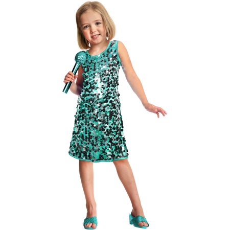 Sequins Pop Star Child Halloween Costume, Teal - Green Jester Costume