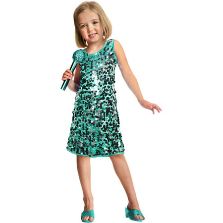 Sequins Pop Star Child Halloween Costume, Teal](Halloween Costume Green Dress)