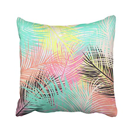 WinHome Cute Watercolor Bright Tropical Palm Tree Leaf Pattern Polyester 18 x 18 Inch Square Throw Pillow Covers With Hidden Zipper Home Sofa Cushion Decorative - Palm Tree Leaf