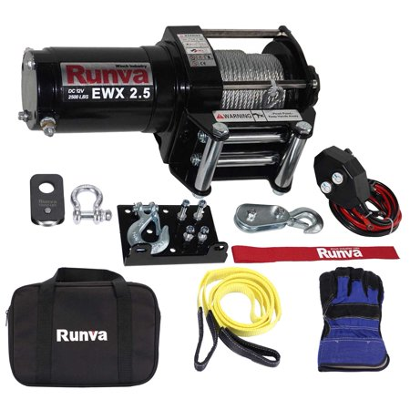 Runva 2500 Lbs Electric 12V ATV/ UTV Power Tow Winch Master Recovery Kit