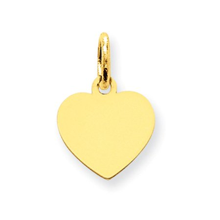14k Yellow Gold Plain 0.013 Gauge Engravable Heart Disc Charm (0.6in long x 0.4in wide)