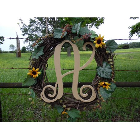 Wooden Letter Vine (A) Unfinished Wood Craft Letter, Paintable Wall Decor