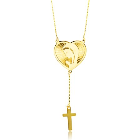 14K Yellow Gold DC Heart/Mother Theresa & Cross on Spool 16