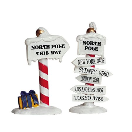 Christmas Village Collection Accessories North Pole Signs 2-Piece #64455, By Lemax Ship from US - Lemax Halloween Village Clearance
