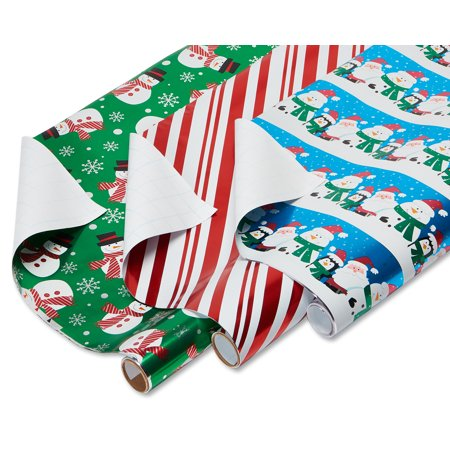 American greetings christmas santa and friends candy cane stripe american greetings christmas santa and friends candy cane stripe and snowmen foil wrapping paper m4hsunfo