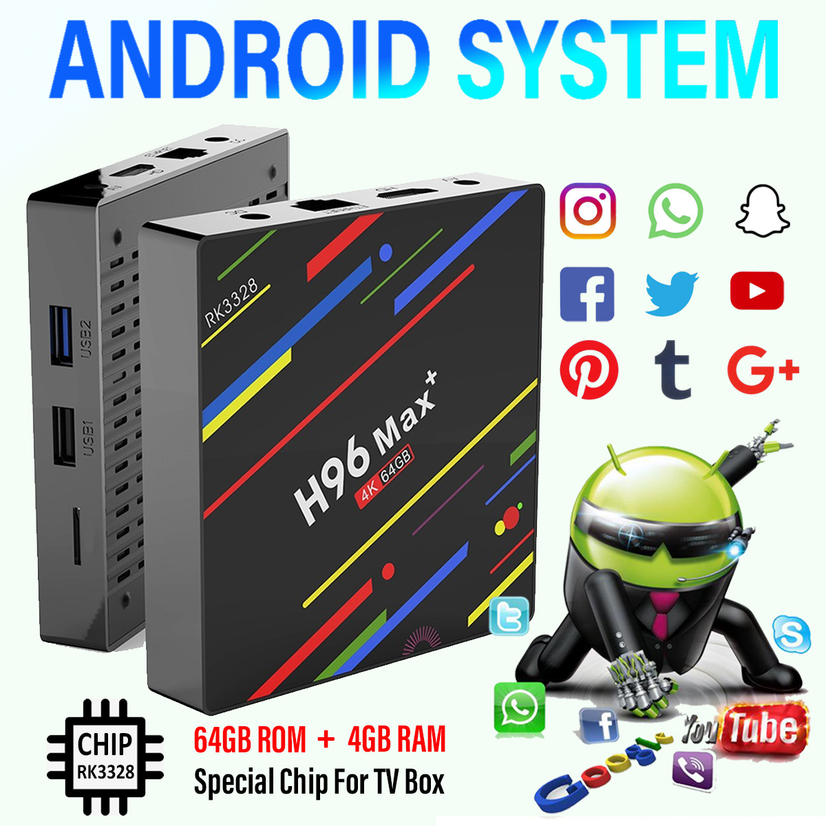 H96 Max Plus RK3328 4G/64G Android 8.1 USB3.0 Voice Control TV Box Support HD Netflix 4K Youtube -US